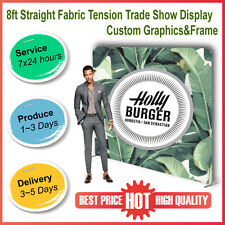 8ft Straight Fabric Tension Backwall New Version Pop Up Trade Show Display Booth