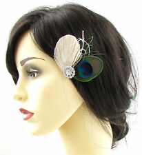 Ivory Cream Bleached Peacock Feather Hair Clip Fascinator Silver Bridal 20s 694
