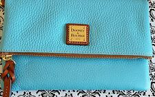 NWT Dooney & Bourke Pebble Leather Grain Fold Zip Wristlet Blue Purse Wallet