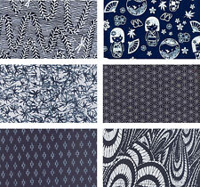 6 INDIGO ASIAN ORIENTAL JAPANESE FAT QUARTER QUILT FABRIC: 1 1/2 Yds
