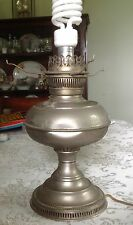 "Really Old 12""x 7"" Graceful Electrified Antique Oil Lamp - Works!"