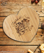 SUGAR SKULL PERSONALISED GIFT HEART CHOPPING BOARD, CHEESE BOARD, WEDDING GIFT