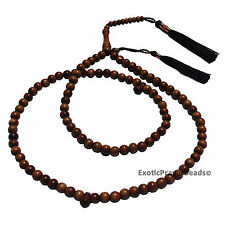 8mm Natural Iron Wood (Stigi) Tasbih Prayer beads Muslim Rosary w/ Black Tassel