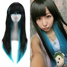 Stunning Long Straight Blunt Bangs Blue Black Wigs Death Gothic Lolita Style Wig