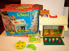 Vintage Fisher Price Play Family School 1970s Nr Complete In Box Little People