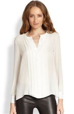 Haute Hippie Pleated Front Silk Tuxedo Blouse Top $325 Size XS