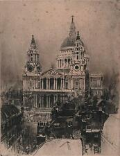 JOSEPH PENNELL Signed Etching ST PAUL'S CATHEDRAL LONDON c1890