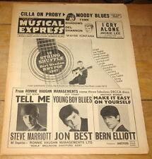 NME FEB 12 1965 STEVE MARRIOTT JON BEST BERN ELLIOTT MOODY BLUES CILLA SHANNON