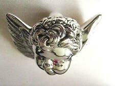 Sterling Silver Ruby 3D Cherub Angel Cupid Pendant Xmas Tree Hanging Decoration