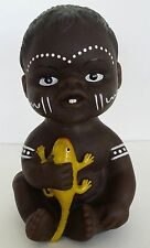 Australian Aboriginal Doll Baby Black with Lizzard 13cm or 6""