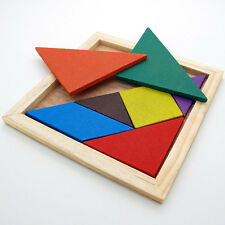 Color Wooden Tangram Brain Teaser Puzzle Educational Developmental Kids Toy HU