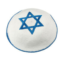 Star of David Knitted KIPPAH..... Blue white Yarmulke Kippa Kipa Yarmulka Israel
