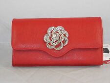 Mundi File Master Red Silver Pave' Flower Coupons Cash Receipts Organizer Wallet