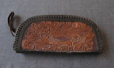 ANTIQUE EMBOSSED FLOWERS & LEAVES GENUINE LEATHER ZIPPERED CLUTCH PURSE BAG