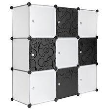 System Steckregal mit Türen Schrank Regal Kunststoff Kleiderschrank schwarz weiß