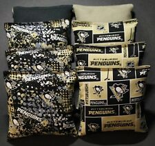All Weather CORNHOLE BEAN BAGS made w PITTSBURGH PENGUINS Fabric Waterproof
