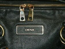 DONNA KARAN NEW YORK DKNY DOME SHAPED SATCHEL IN BLACK PEBBLED LEATHER EX. LARGE