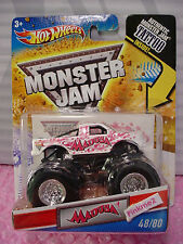 htf 2011 MONSTER JAM Hot Wheels #48 MADUSA☆White truck☆Breast Cancer Pink Ribbon