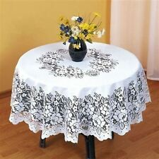 """SUPERB WHITE HEAVY LACE ROUND TABLE CLOTH 48"""" ROUND ***FIL***"""