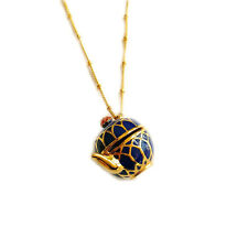 Women's 12K Gold Plated Enamel Tea Time Locket Pendant Necklace