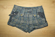Grey & Blue Checkered RIVER ISLAND Clubwear Hot Pants Casual Shorts Size 8 / 34