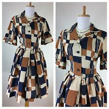 Vintage 1950s Dress Blue Brown VLV Rockabilly Shirt Party Day Dress L