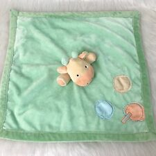 """JUST ONE Year Giraffe Security Blanket Green Yellow Dots Satin Side Rattle 18"""""""