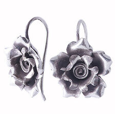Flower Thai Karen Hilltribe Earrings Pure Black Silver