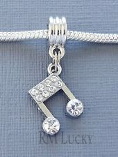 Musical Note Crystal Pendant. Large hole bead. FITS European charm Bracelet C184