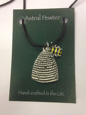 PENDANT BEEHIVE WITH A BEE STING PEWTER NECKLACE HAND CRAFTED UK FINISH NEW