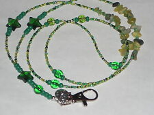 "Green  Stars~ID Badge Holder~Key Chain~St, Patrick's Day~NEW~38""~Buy 3 SHIP FREE"
