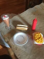 American Girl Doll Hot Dog,plate French Fries Milk Shake And Ketchup