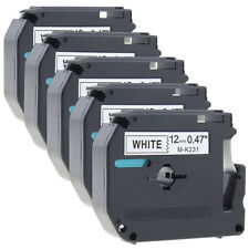 5PK Compatible for Brother P-touch Labels M-K231 MK231 Black on White Tape PT65