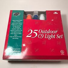 C9 Light Set, 25 Opaque Multi-Color Christmas Lights, Green Wire, outdoor New