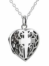 Cross in Heart Filigree Locket Necklace - 925 Sterling Silver Openwork Gift NEW