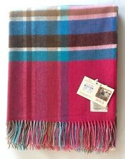 LARGE AVOCA PURE LAMBSWOOL THROW BLANKET RUG  FOR SOFA OR BED  - CERISE