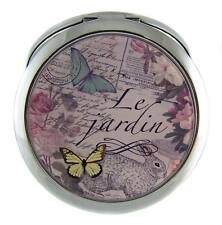 Elegant SILVER TONE FLOWERS & BUTTERFLY COMPACT MIRROR - Free Local Post - NEW