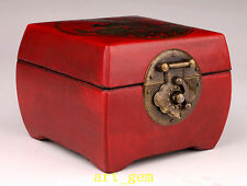 Oriental China Archaize Phoenix Bird Flowers Dotted Red Leather Jewelry Box Hous