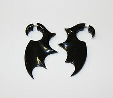 Black Bat  Wings  Horn Fake Gauge Earrings  hand carved naturally faux gauges