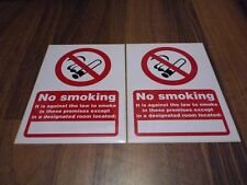 2 x NO SMOKING except SPECIFIC AREA sign self adhesive sticker label warning