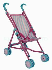 Kids Toy Doll's Pram Girls  Buggy Single Stroller Pushchair Folding Pink & Blue