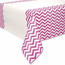 """54"""" x 108"""" Hot Pink White Chevron Zig Zag Party Plastic Table Cover"""