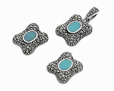 Turquoise Marcasite Set Sterling Silver 925 Earring & Pendant Jewelry Gift