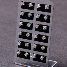 Wholesale lots 12pairs faceted square zircon earrings stud jewelry Gift Women