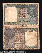 BURMA on INDIA 1 RUPEE P30 1947 KING GEORGE VI COIN OVPT CURRENCY MYANMAR NOTE