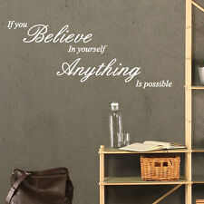 If You Believe In Yourself Art Wall Quote Stickers Decals Words Lettering p3