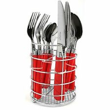 NEW GIBSON FLATWARE SILVERWARE with WIRE CHROME CADDY HOLDER PLASTIC HANDLE RED
