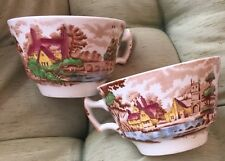 Enoch Woods Ware ENGLISH SCENERY Set Of 2 Tea Cups England Wood & Sons England
