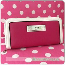 NEW GUESS Wallet Organizer Coin Purse Clutch Checkbook Bag Zip Senuri Pink Bling
