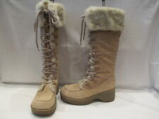 RIVER LAND BEIGE SUEDE MID HEIGHT ZIP UP LACE DETAIL BOOTS UK 8  (373)